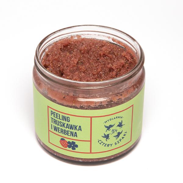 Peeling truskawka i werbena 4szpaki otwarty słoik